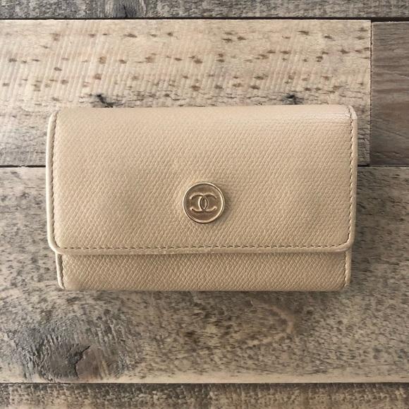 66409fa415 Chanel Six Ring Leather Key Holder Case SLG